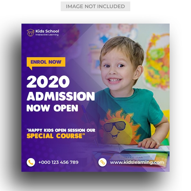 Kids school education admission social media post & instagram post template Premium Psd