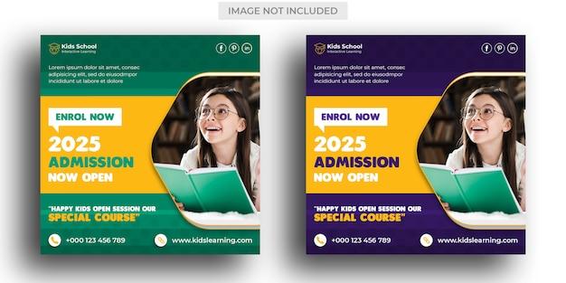 Kids school education admission social media post & instagram post template