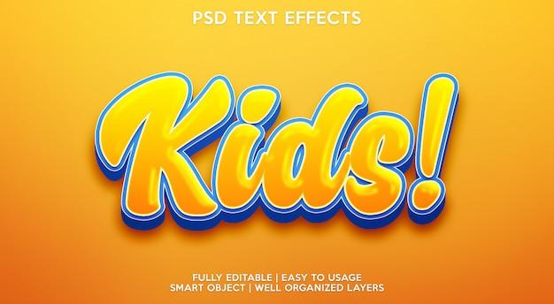 Детский текстовый эффект Premium Psd