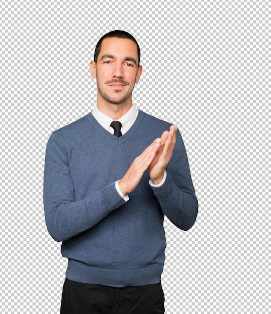 Kind young man applauding gesture Premium Psd