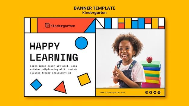 Kindergarten ad banner template Free Psd