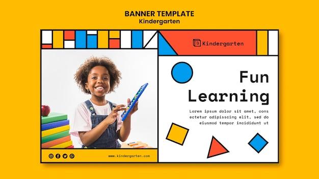 Kindergarten ad template banner Free Psd