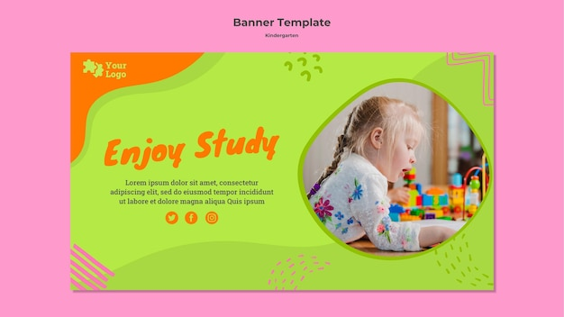 Kindergarten banner template with photo Free Psd