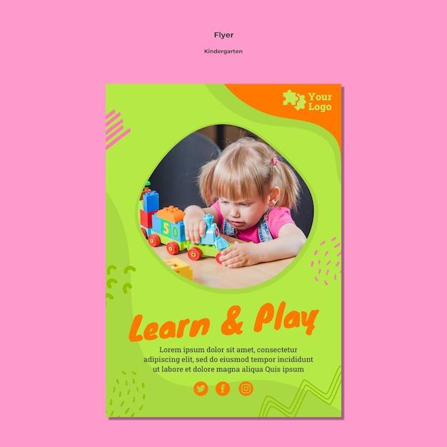 사진과 함께 유치원 전단지 서식 파일 무료 PSD 파일