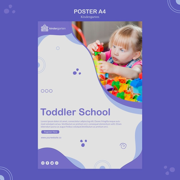 Kindergarten flyer template Free Psd