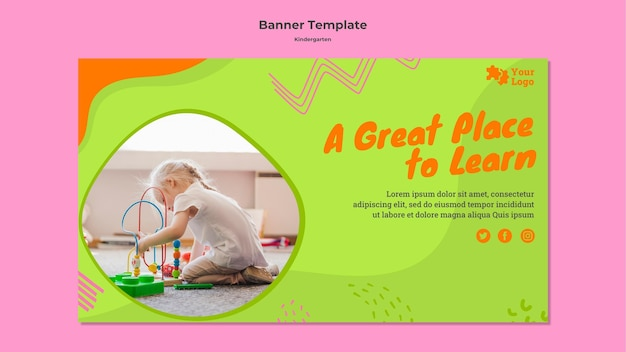 Kindergarten horizontal banner with photo Free Psd