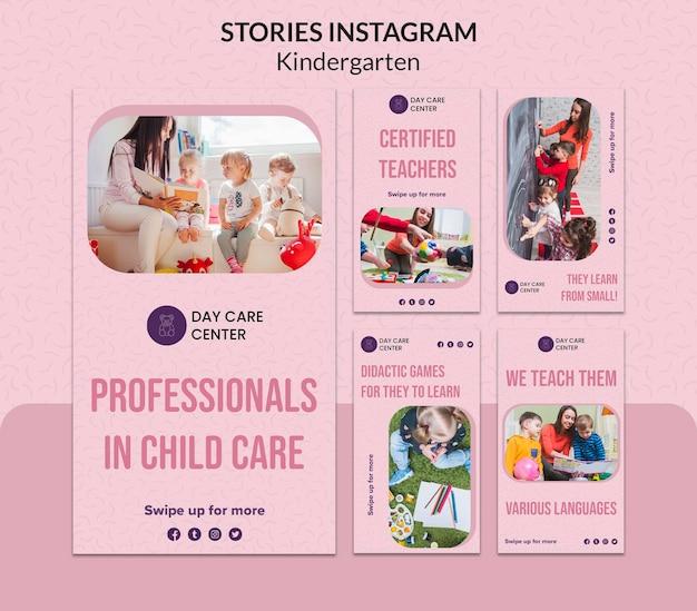 Kindergarten instagram stories web template Free Psd