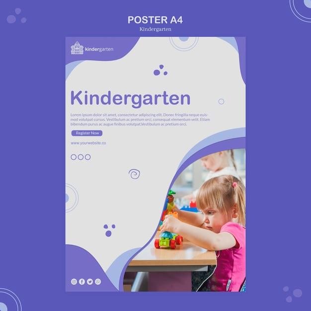 Kindergarten poster template Free Psd