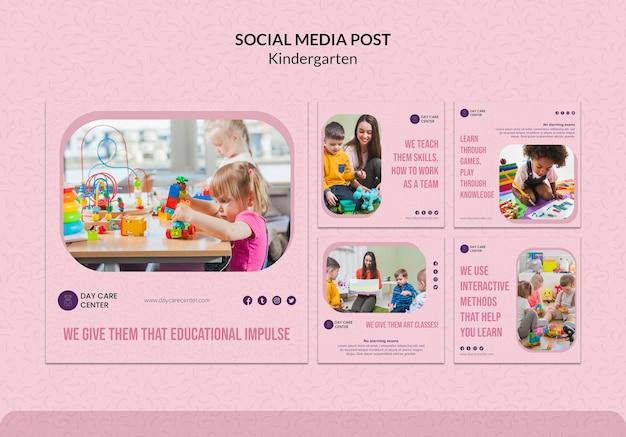Kindergarten social media post template Free Psd