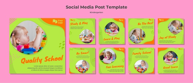 유치원 소셜 미디어 게시물 템플릿 프리미엄 PSD 파일