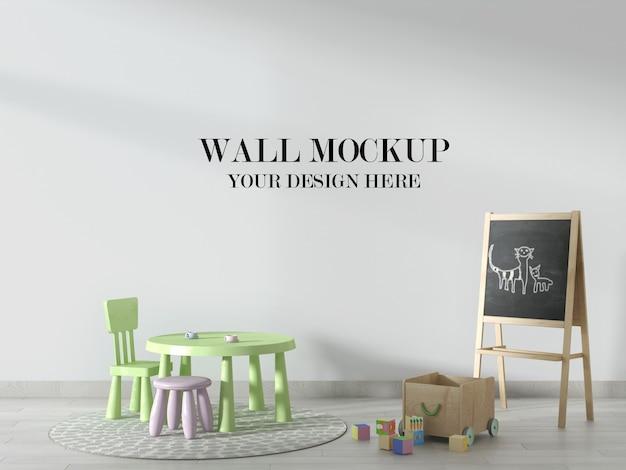 幼稚園の壁のモックアップ、黒板と子供の家具で飾られたシーン Premium Psd