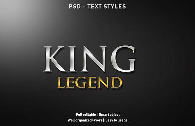 King legend text effect Premium Psd