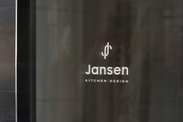 Kitchen design window sign logo mockup Free Psd