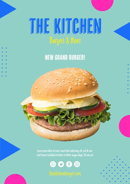 Kitchen menu burger with lettuce Free Psd
