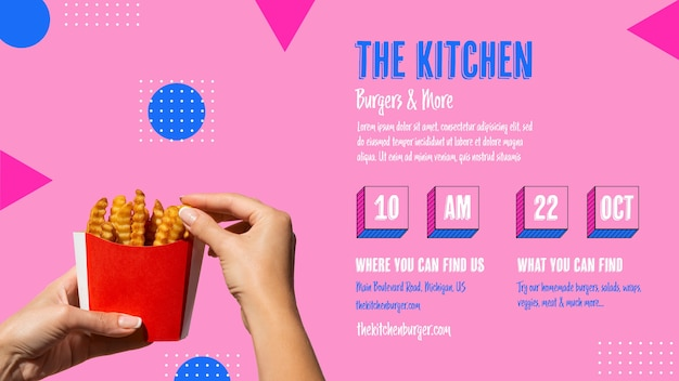 Kitchen menu with timetable Free Psd