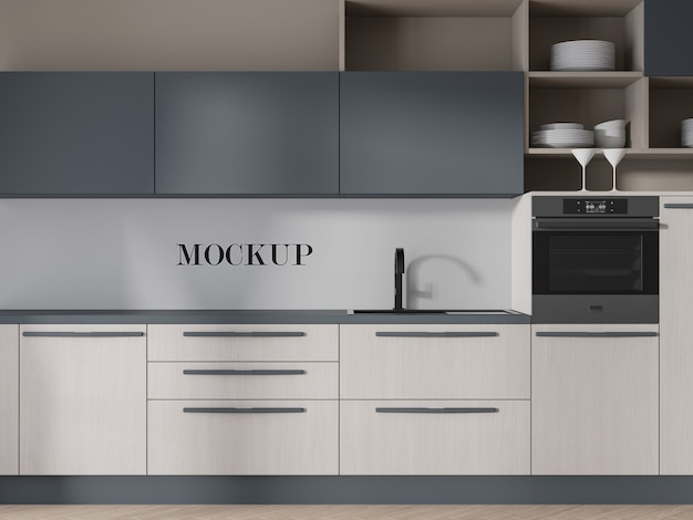 Kitchen mockup to change the wall surface Premium Psd