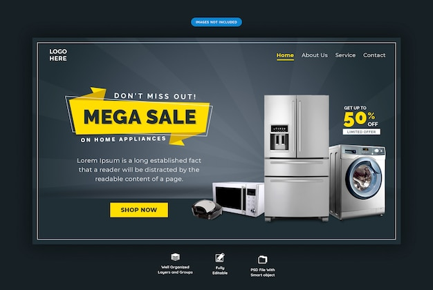 Kitchenware horizontal web template Premium Psd