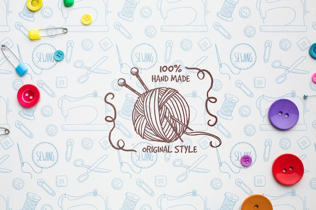 Knitting mock-up with safety pins Free Psd