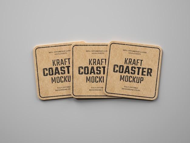 Kraft beverage coaster mockup Premium Psd