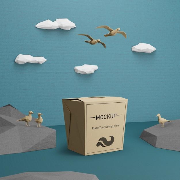 Бумажный пакет крафт для дня океана с макетом Бесплатные Psd