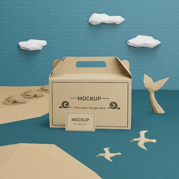 モックアップ付き海の日のクラフト紙袋 無料 Psd