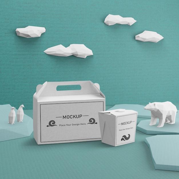 Бумажные пакеты крафт для ocean day cocept Бесплатные Psd