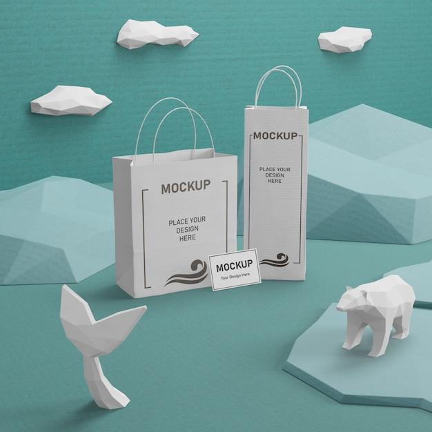 Бумажные пакеты крафт с макетом для дня океана Бесплатные Psd