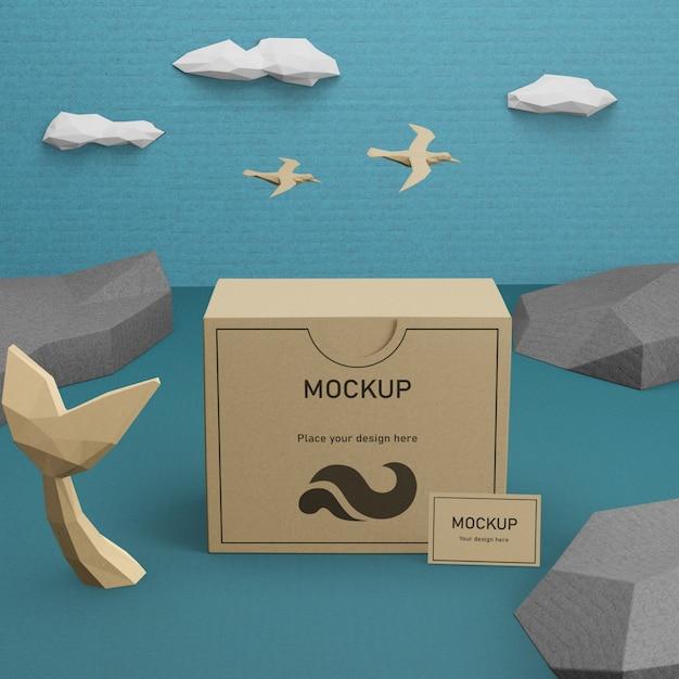 Коробка из крафт-бумаги и морская жизнь с макетом Бесплатные Psd