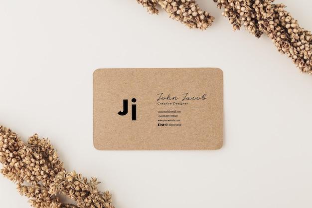 Kraft paper business card mockup template, minimal style.