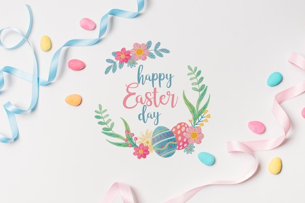 Label mockup with easter concept Free Psd