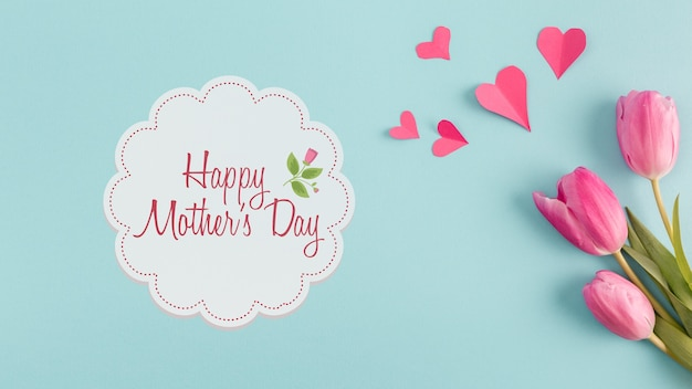 Label mockup with mothers day concept Free Psd