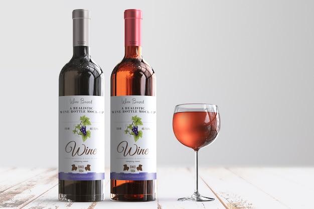 Реалистичная винная бутылка label макет Premium Psd