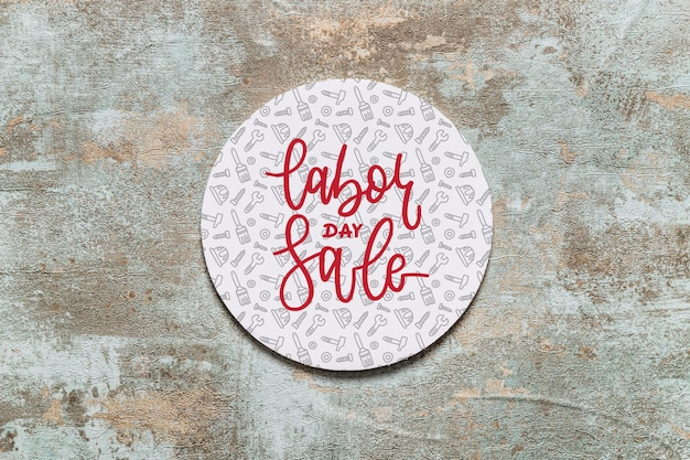 Labor day mockup with round cover Free Psd