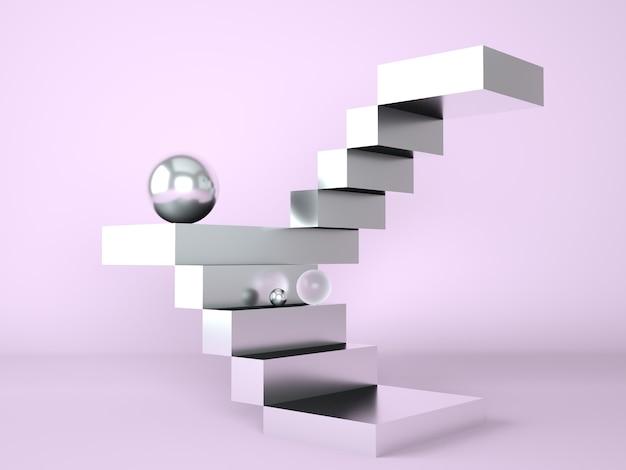 Лестница с подиумом для презентации новинок в 3d рендеринге Premium Psd