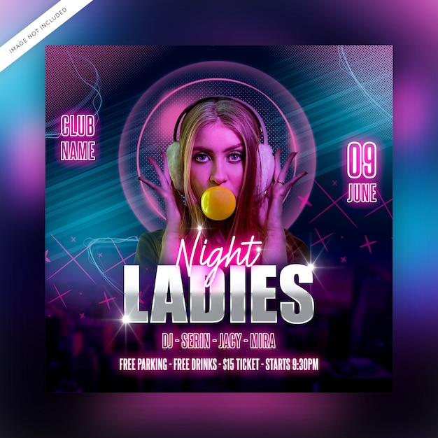Ladies night flyer template or social media post Premium Psd