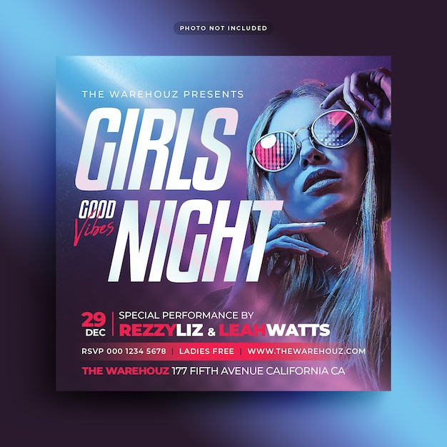 Ladies night party flyer social media post and web banner Premium Psd
