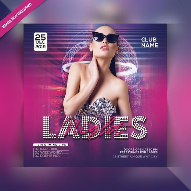 Ladies night party flyer Premium Psd