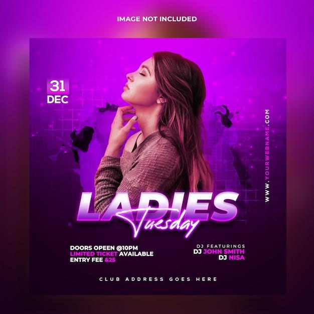 Ladies night party web banner template Premium Psd