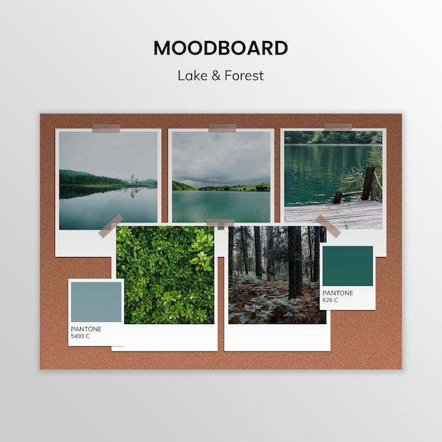 Lake and forest moodboard template Free Psd