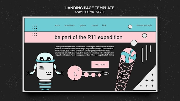 Landing page anime comic style template Free Psd