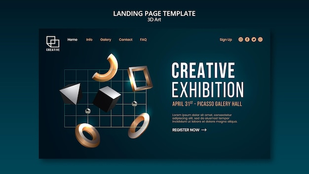 Landing page for art exhibition with creative three-dimensional shapes Free Psd