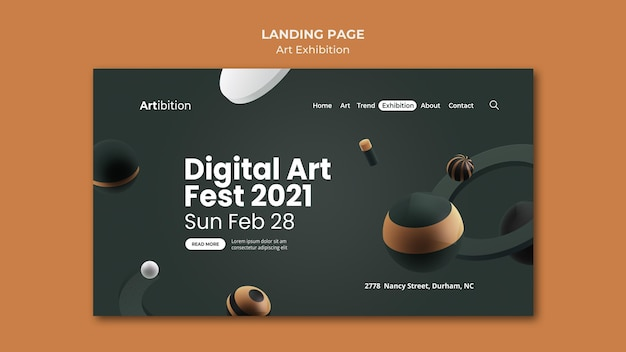 Landing page for art exhibition with geometric shapes Premium Psd