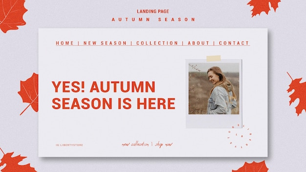 Landing page for autumn new clothing collection Free Psd