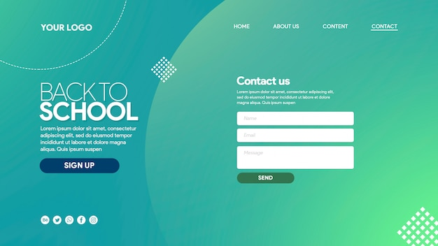 Landing page back to school colorfull with elements Premium Psd