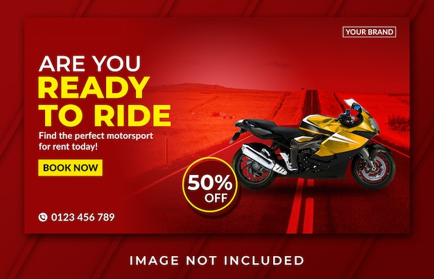 Landing page banner motorcycle rent template Premium Psd