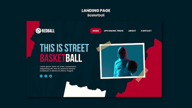 Landing page basketball training template Free Psd