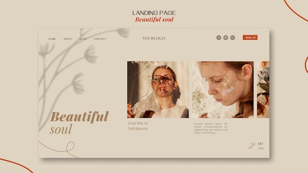 방문 페이지 아름다운 영혼 광고 템플릿 무료 PSD 파일