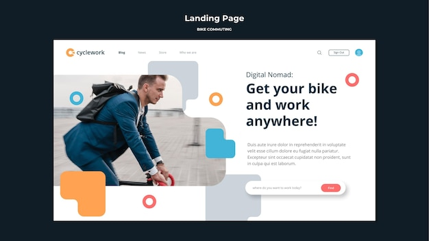 Landing page for bicycle commuting with male passenger Free Psd