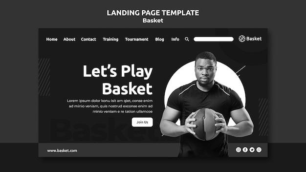 Pagina di destinazione in bianco e nero con atleta di basket maschile Psd Gratuite