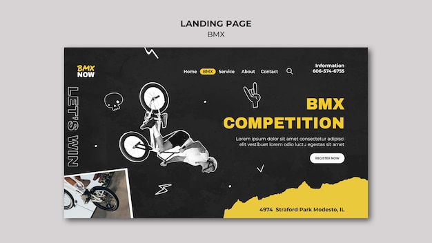 Landing page for bmx biking with man and bicycle Free Psd